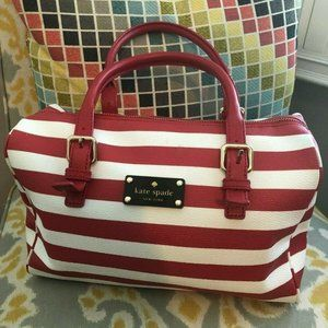 KATE SPADE Red and White Striped Leather Purse